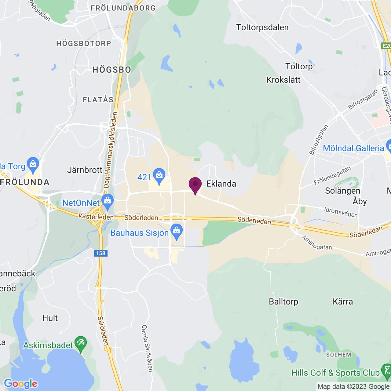 Karta över Hulda Mellgrens Gata 1