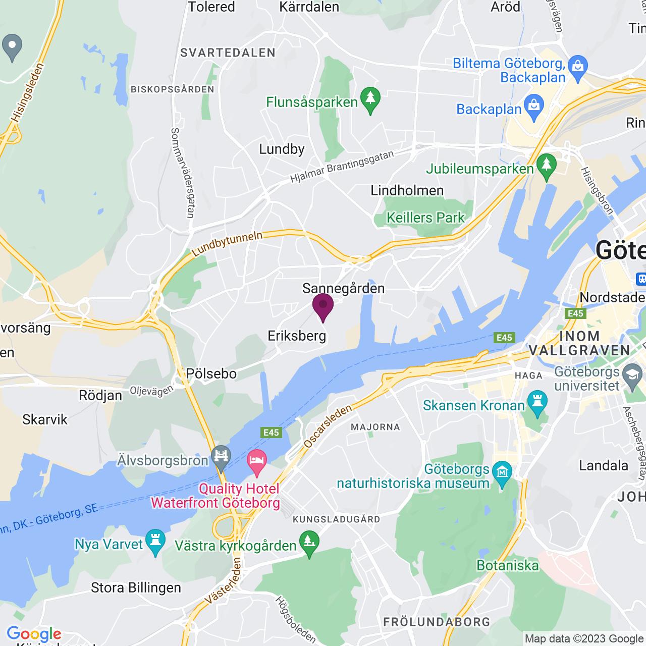 Karta över Östra Eriksbergsgatan 40