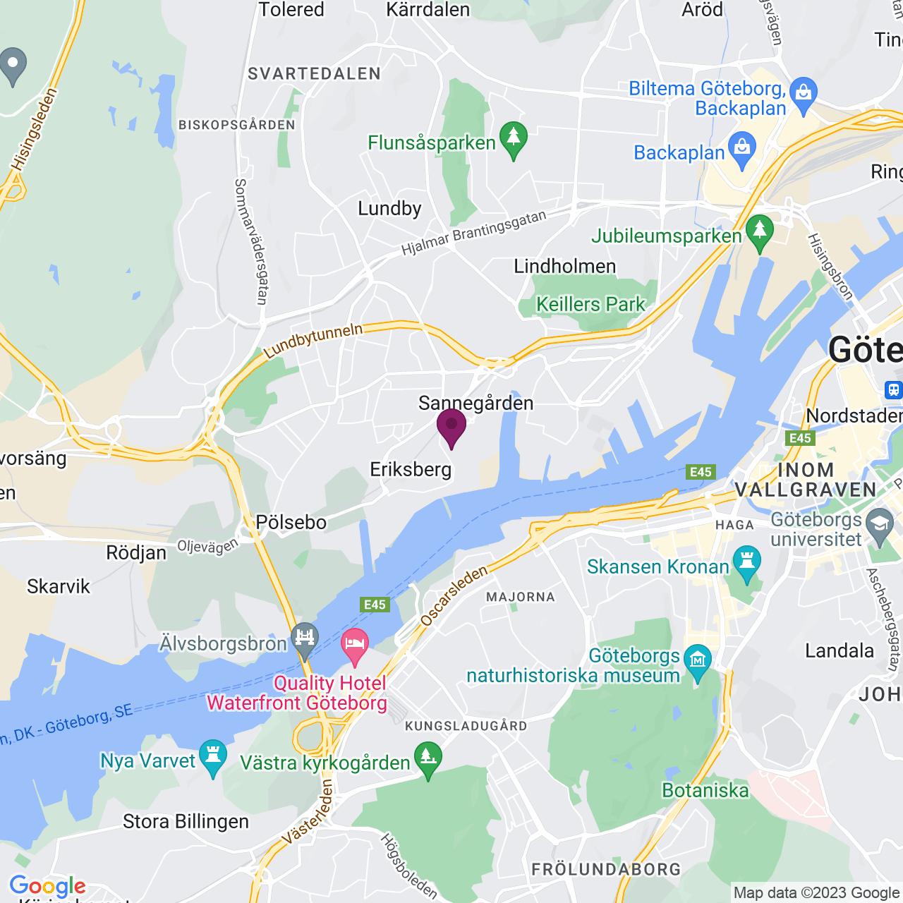 Karta över Östra Eriksbergsgatan 38