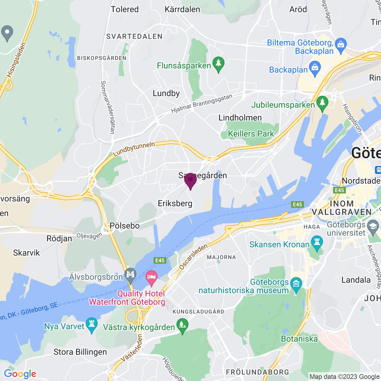 Kort över Östra Eriksbergsgatan 18