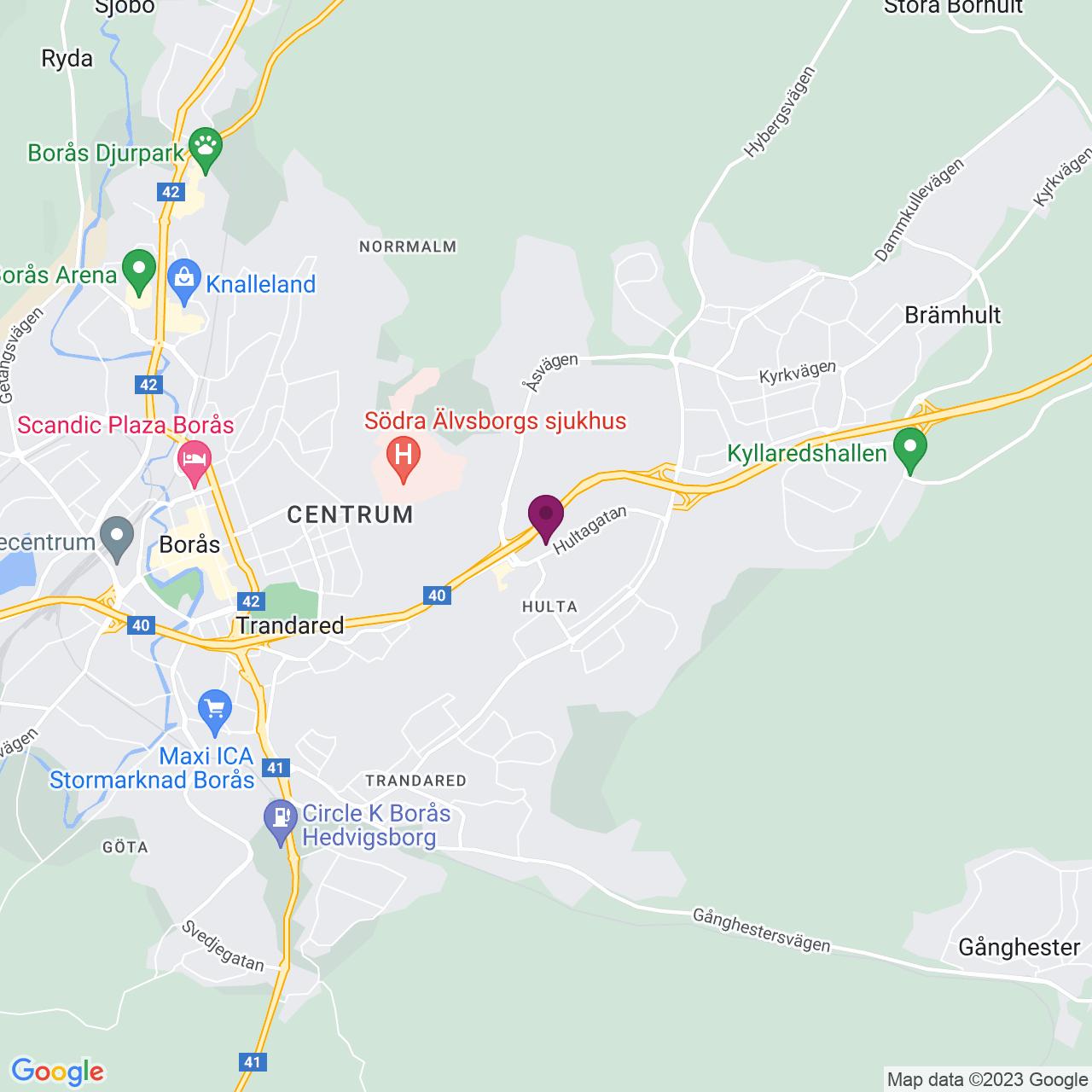 Kort över Hultagatan 15-17