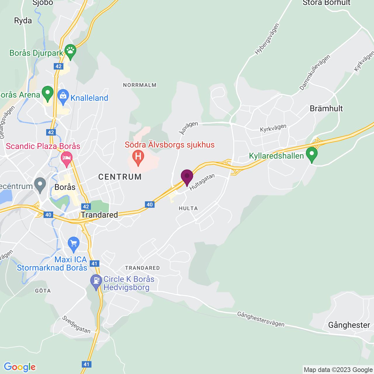 Karta över Hultagatan 15-17