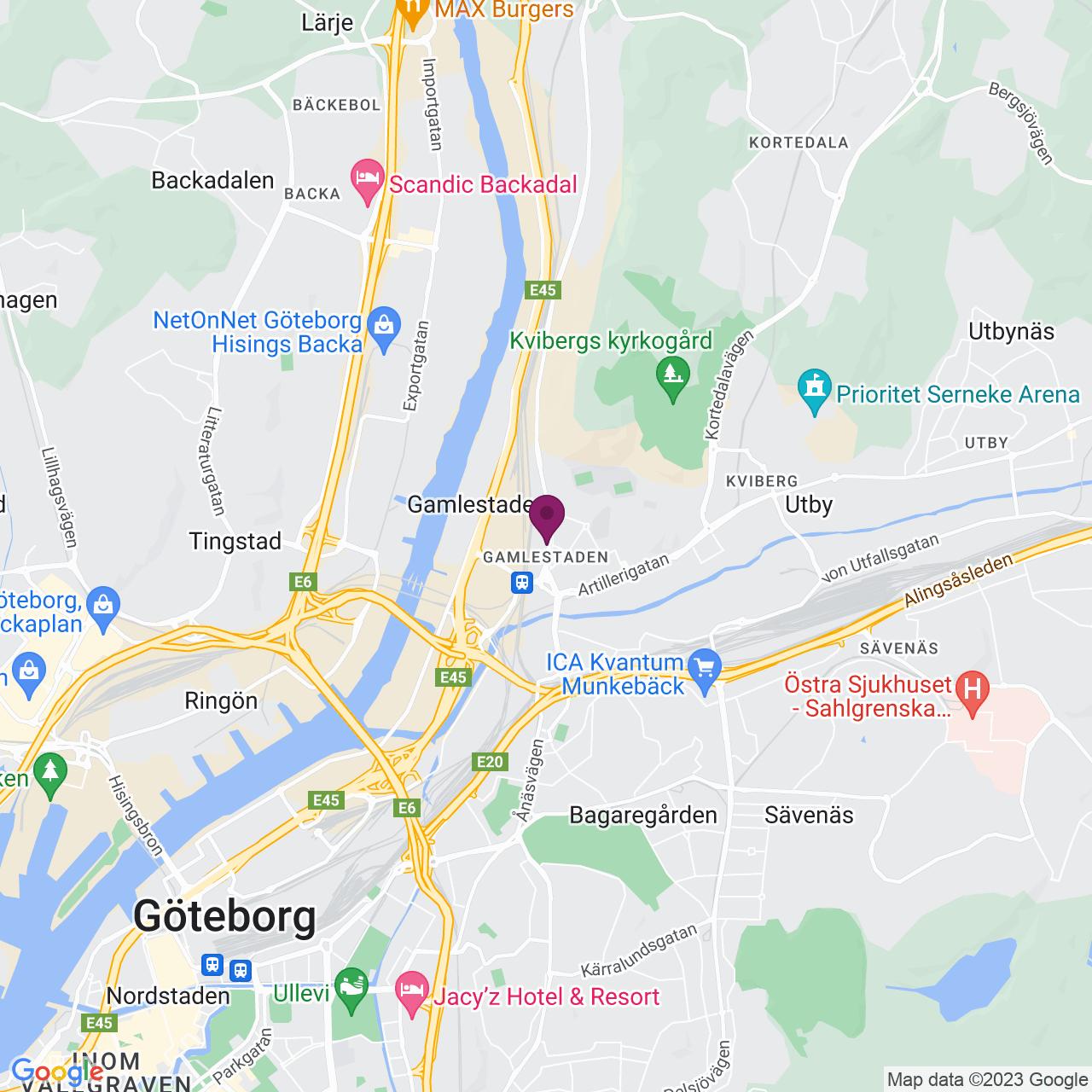 Kort över Gamlestadsvägen 16 – 18