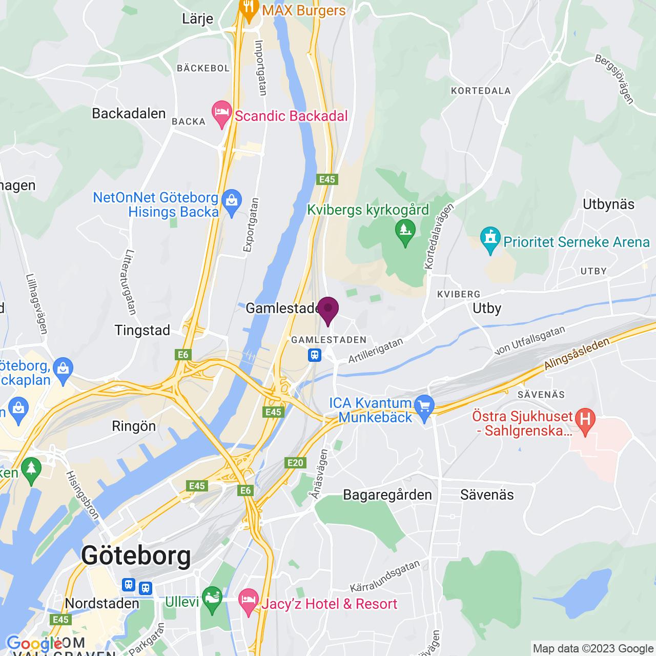 Karta över Gamlestadsvägen 18 A