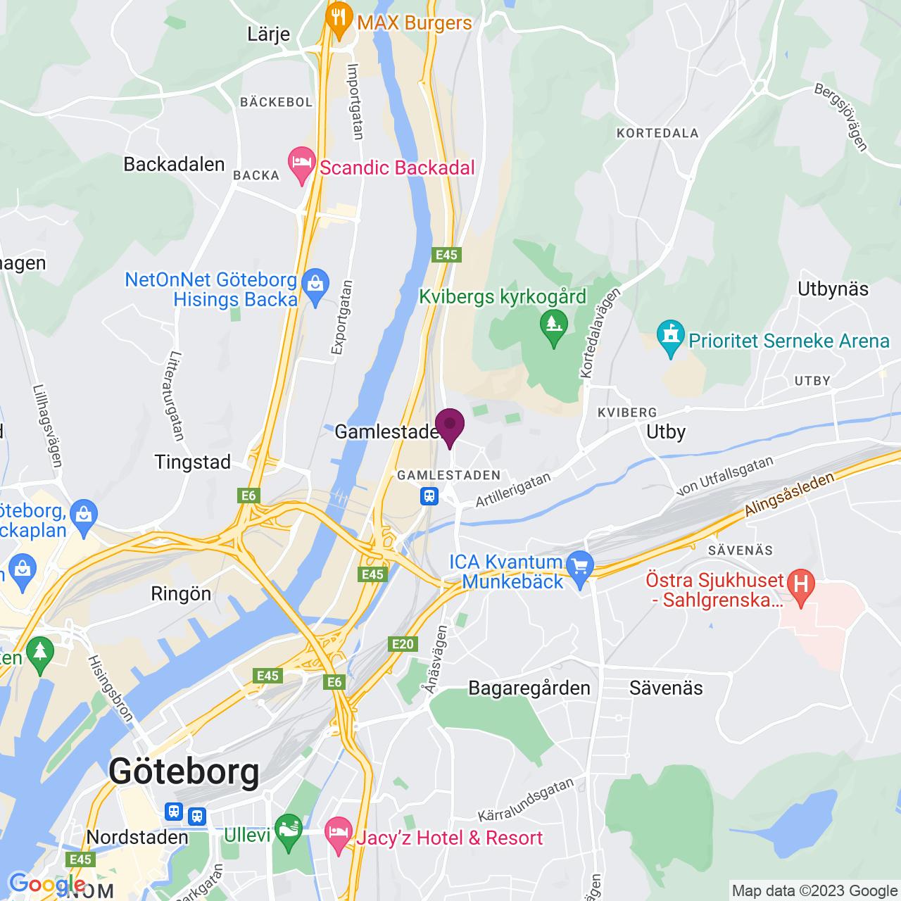 Karta över Gamlestadsvägen 18 B-C