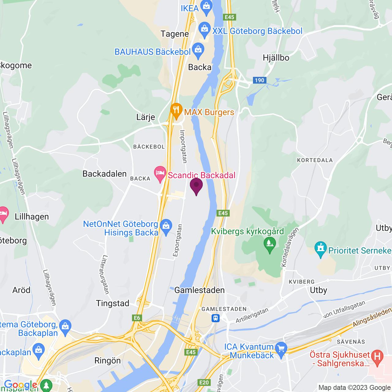 Kort över Backa Bergögatan 7