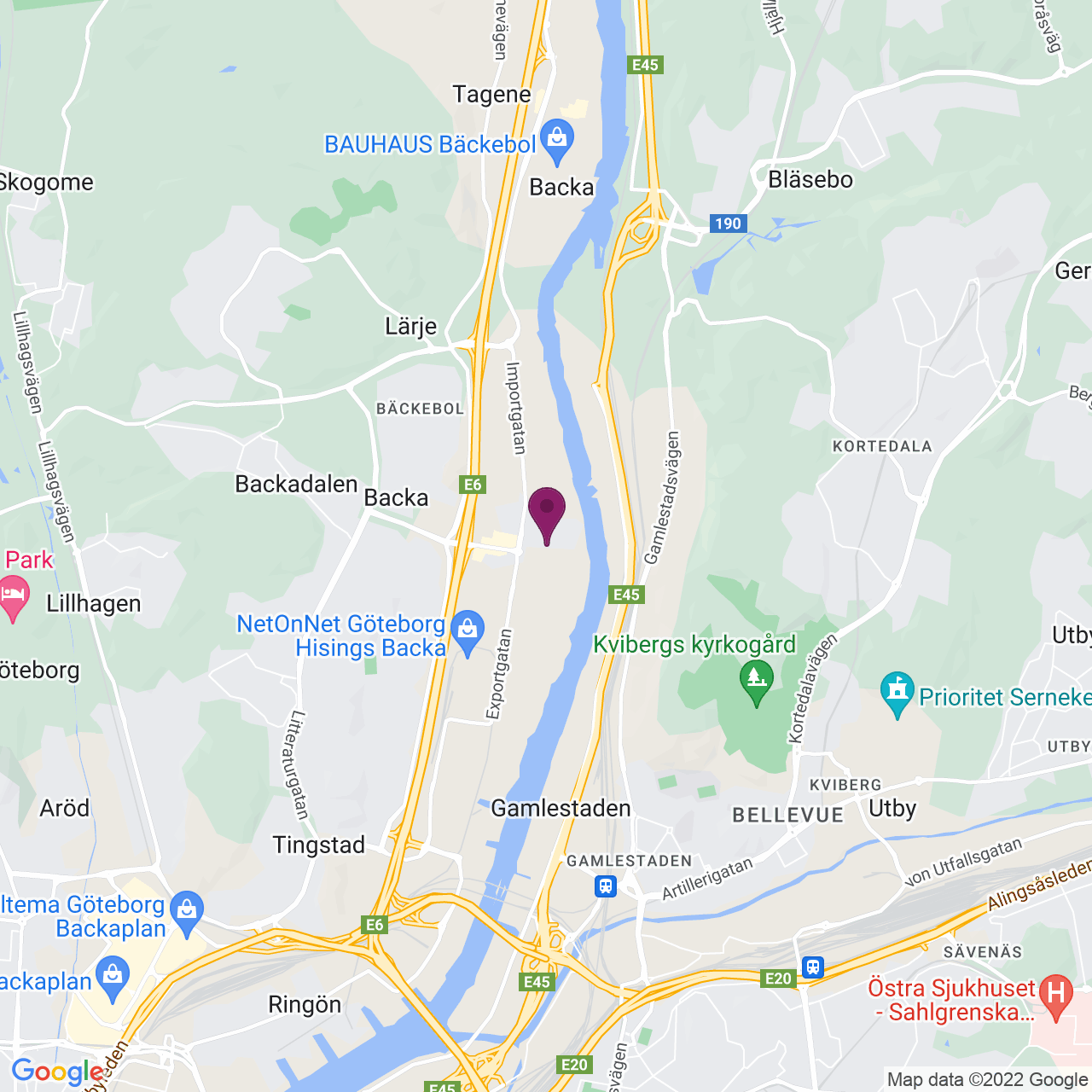 Kort över Backa Bergögatan 5