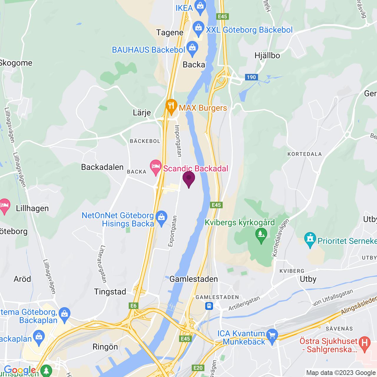 Karta över Backa Bergögatan 5
