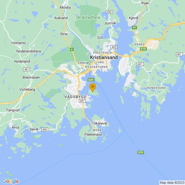 Google Map of 58.1186254,7.9925935