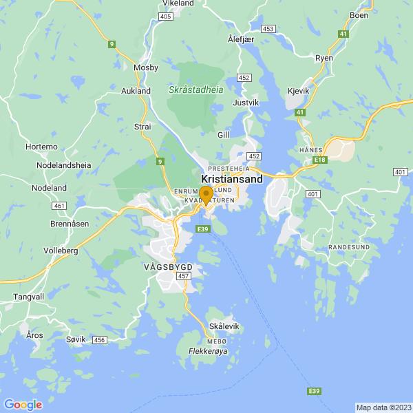 Google Map of 58.145209637688936,7.992237068092356