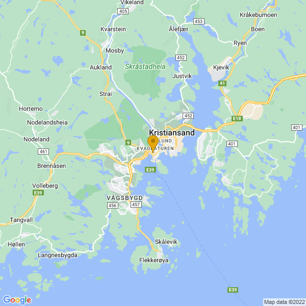 Google Map of 58.14523190781732,7.992230382803354