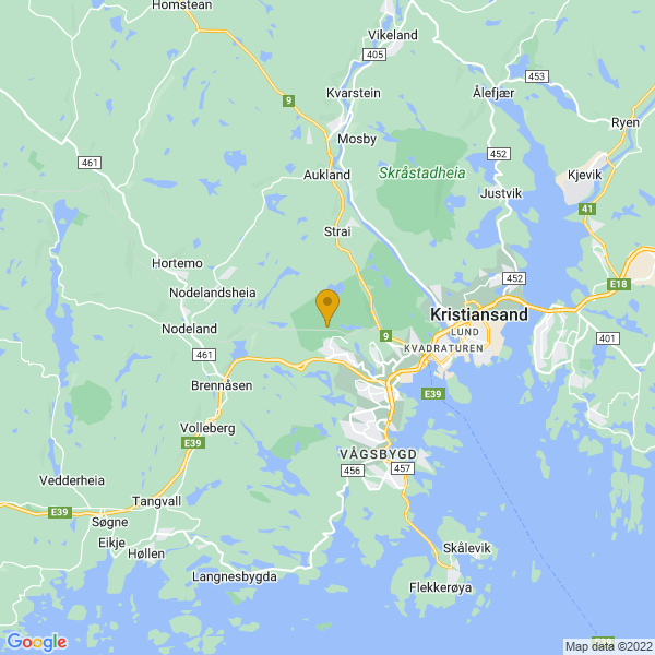 Google Map of 58.15538734288932,7.922178578881822