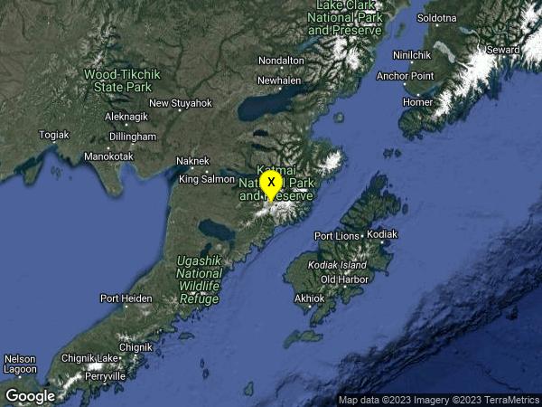 earthquake 100km ESE of King Salmon, Alaska