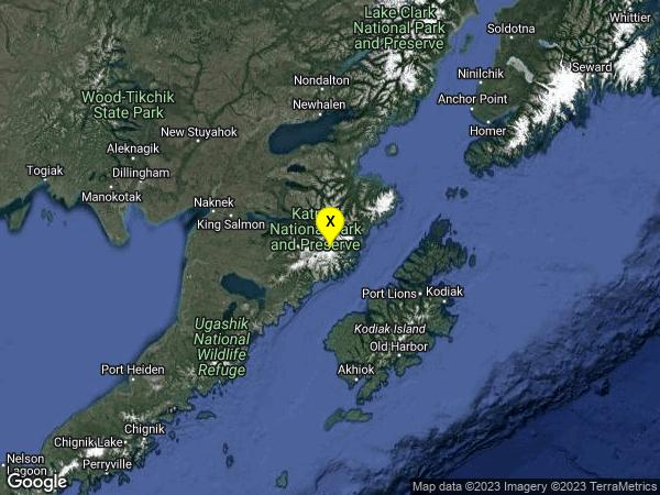 earthquake 100km NNW of Larsen Bay, Alaska