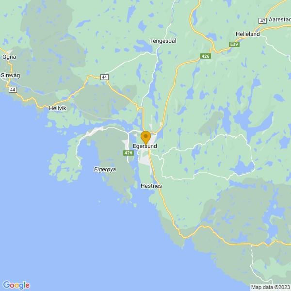 Google Map of 58.451587795479846,6.0007000309112755