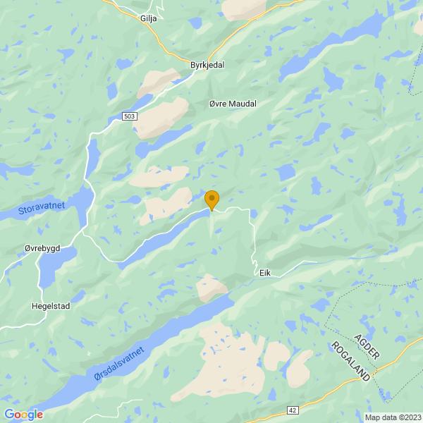 Google Map of 58.70733078220199,6.32639472802734