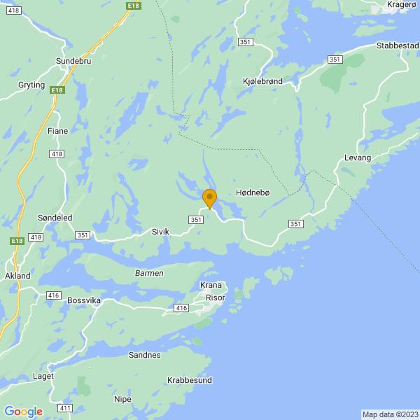 Google Map of 58.76504452749014,9.22686361266375
