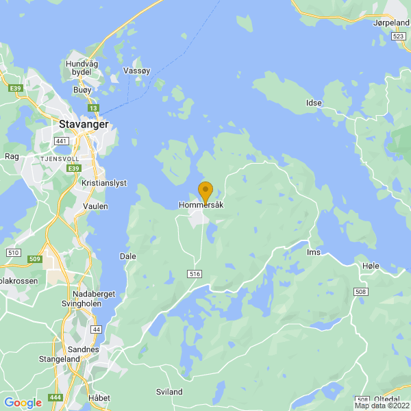 Google Map of 58.92777779999999,5.8547222