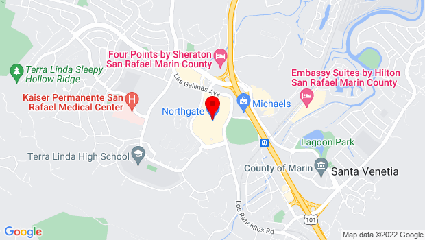 Google Map of 5800 Northgate Mall #146, San Rafael, CA 94903