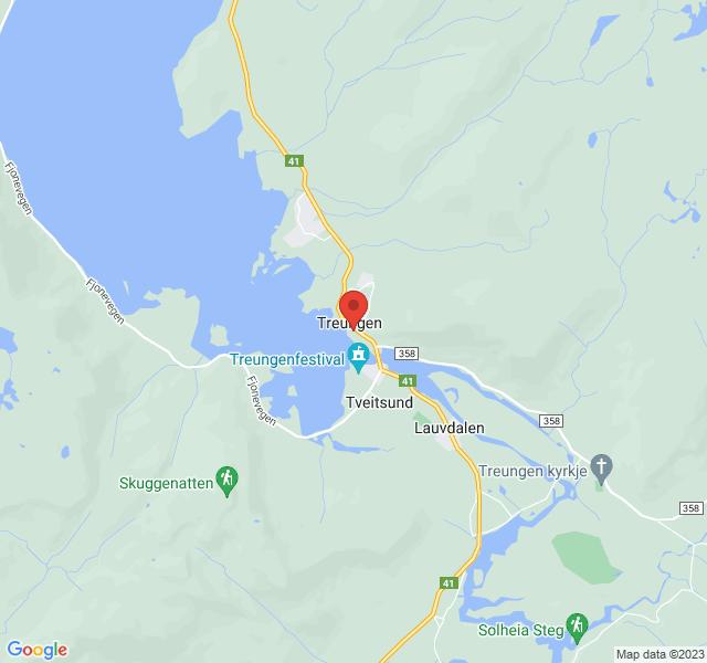 Kart over Treungvegen 406, Treungen