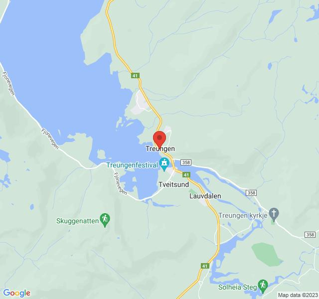 Kart over Treungvegen 410, Nissedal