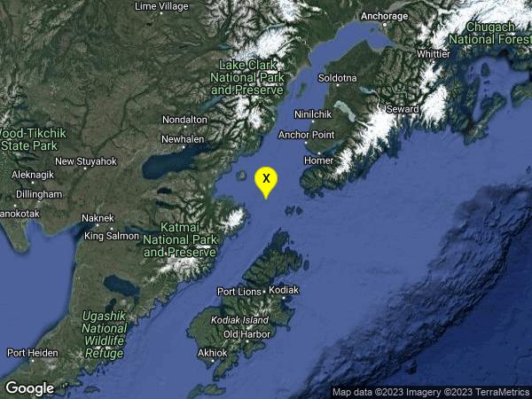earthquake 97km SW of Homer, Alaska