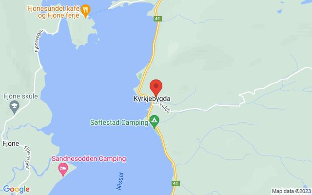 Kart over Nissedal kyrkje