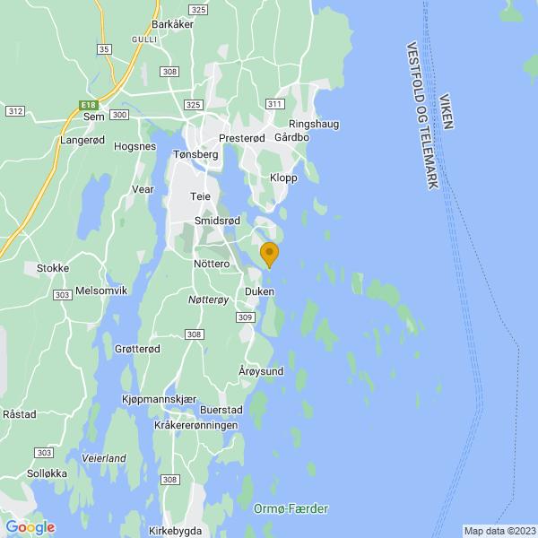 Google Map of 59.22253598972132,10.463803432779514