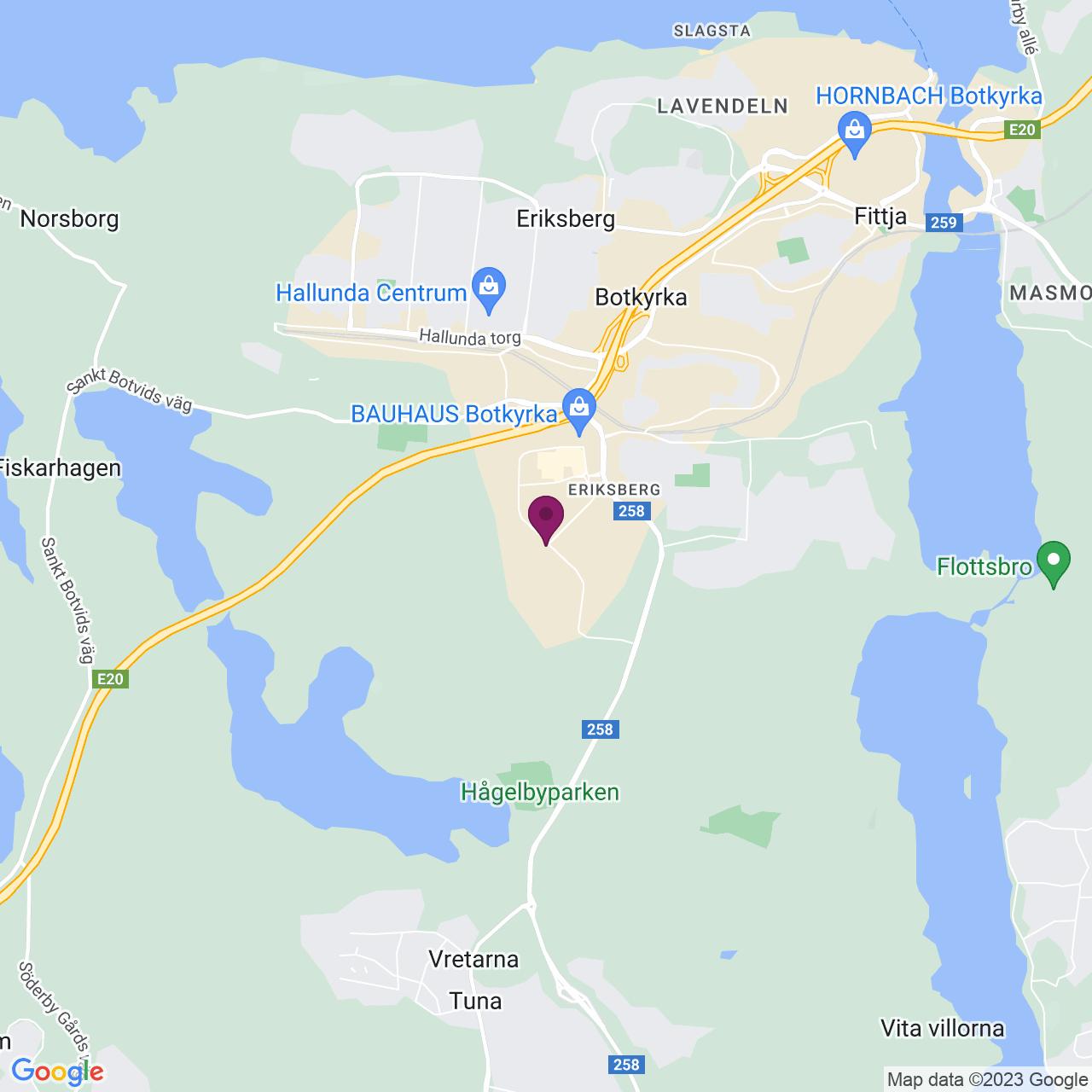 Kort över Kumla Gårdsväg 21 A
