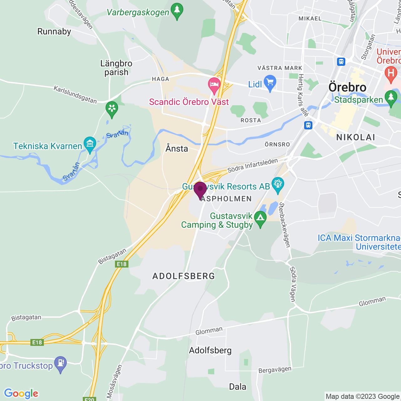 Karta över Adolfsbergsvägen 2-6