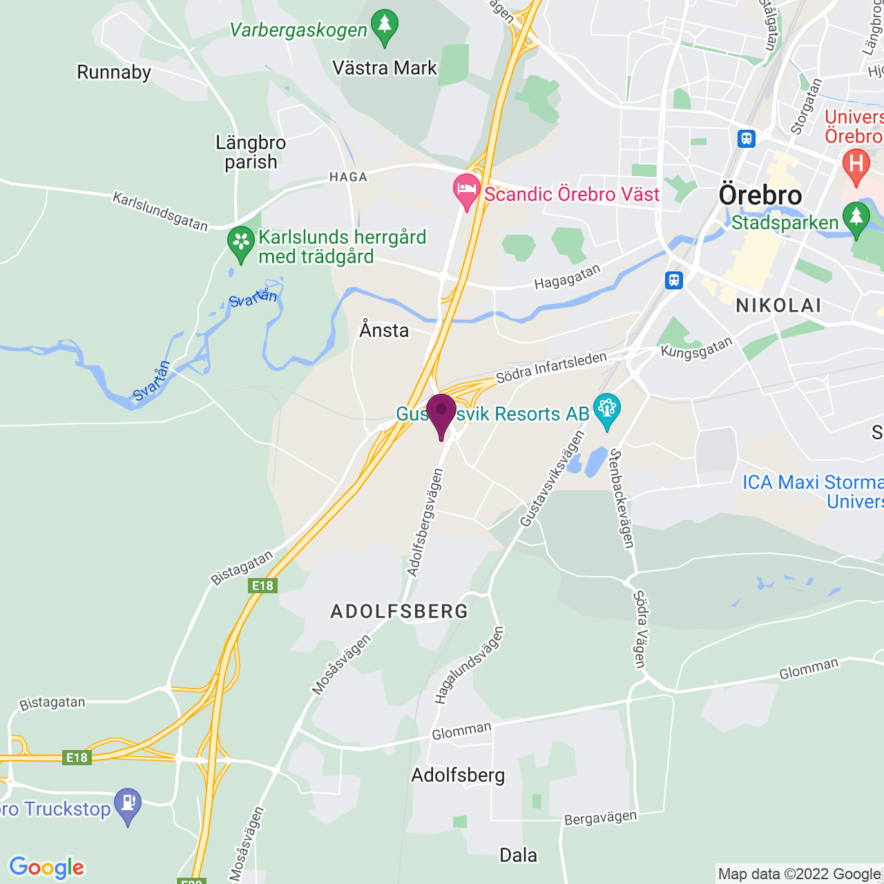 Karta över Adolfsbergsvägen 4-6