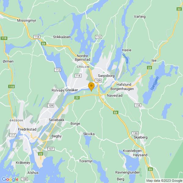 Google Map of 59.26402929360991,11.079637991967774