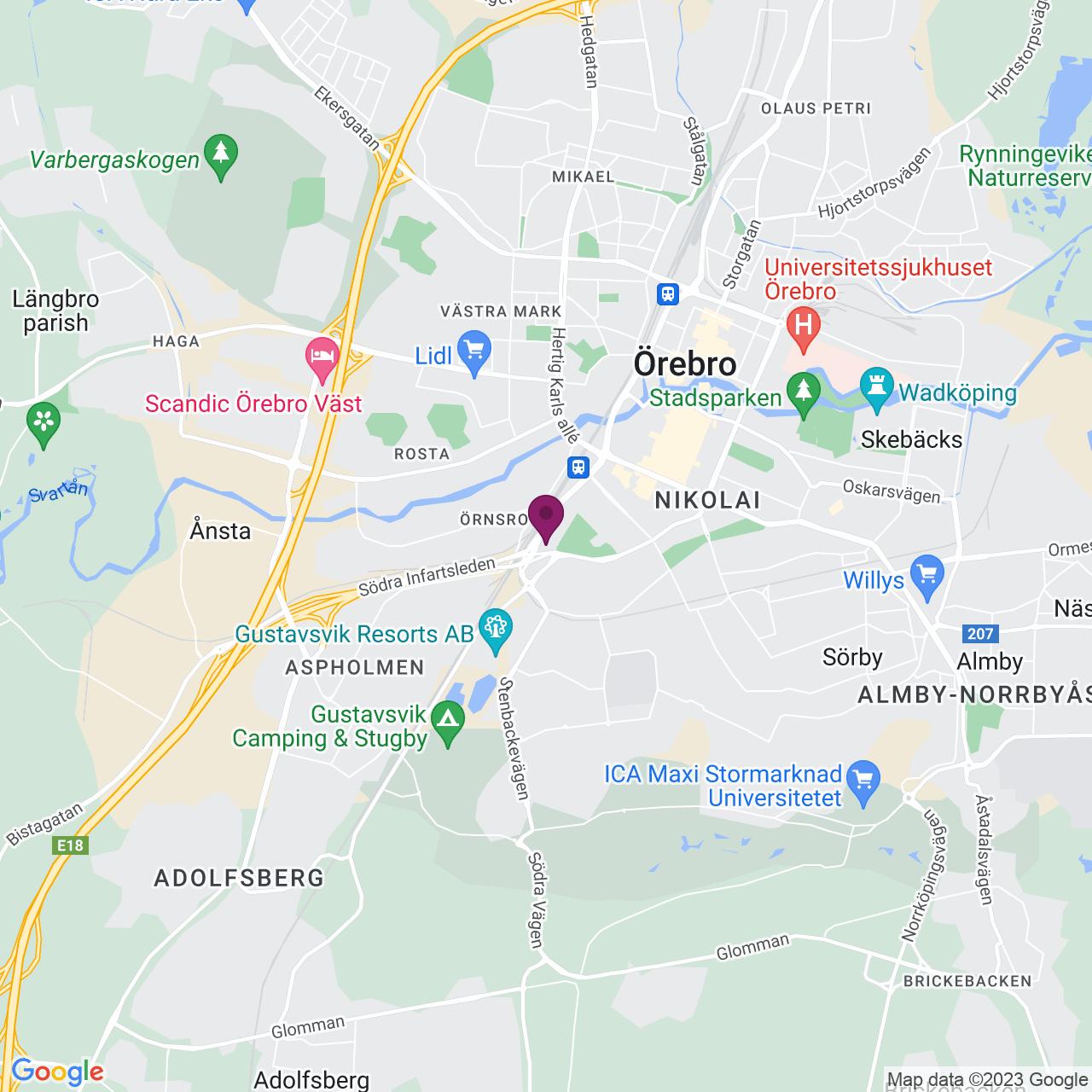 Karta över Fabriksgatan 54