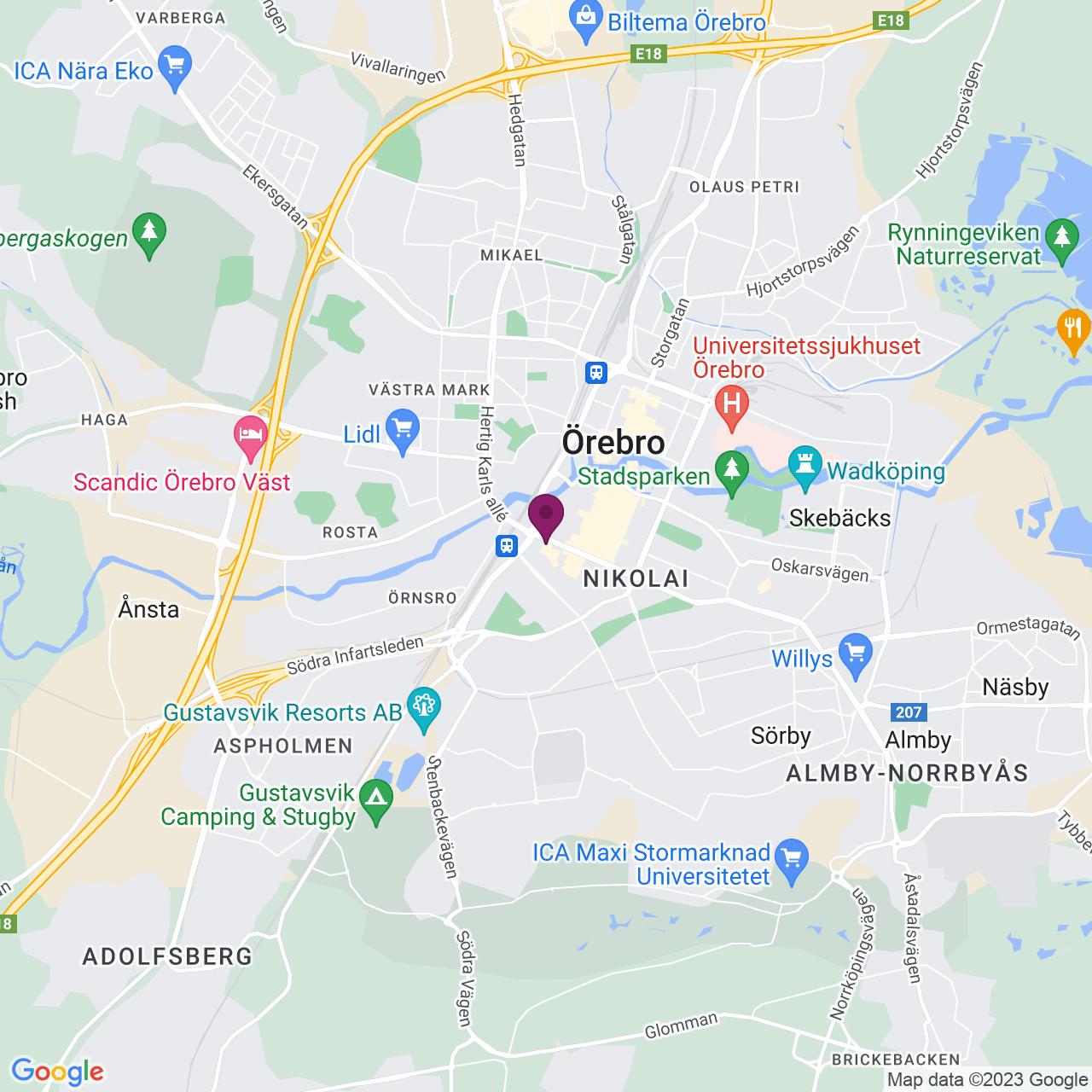 Karta över Fabriksgatan 18