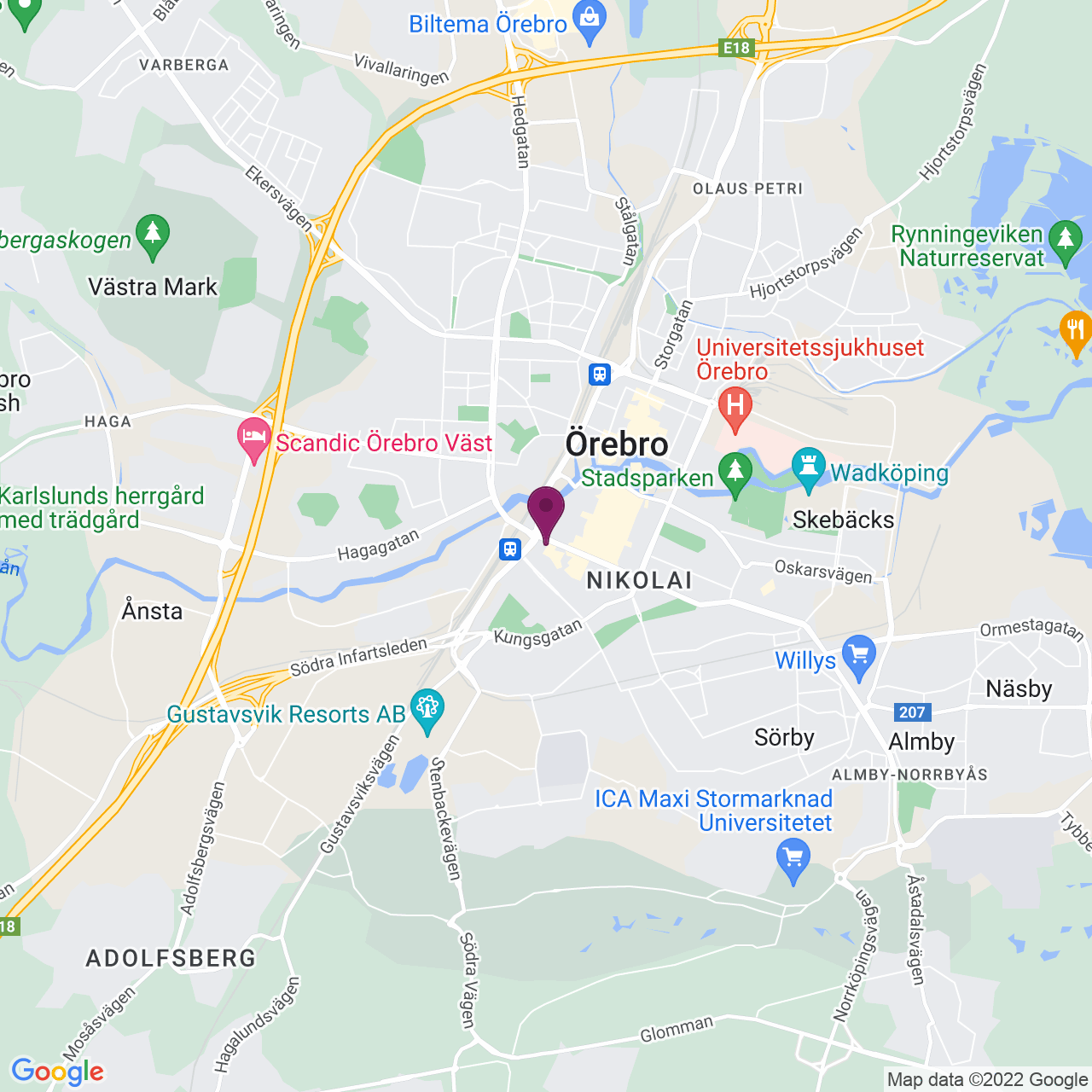 Karta över Fabriksgatan 22