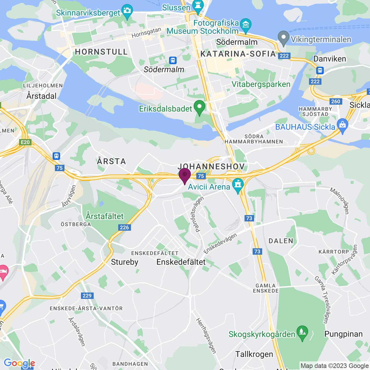 Karta över Lindetorpsvägen  m fl