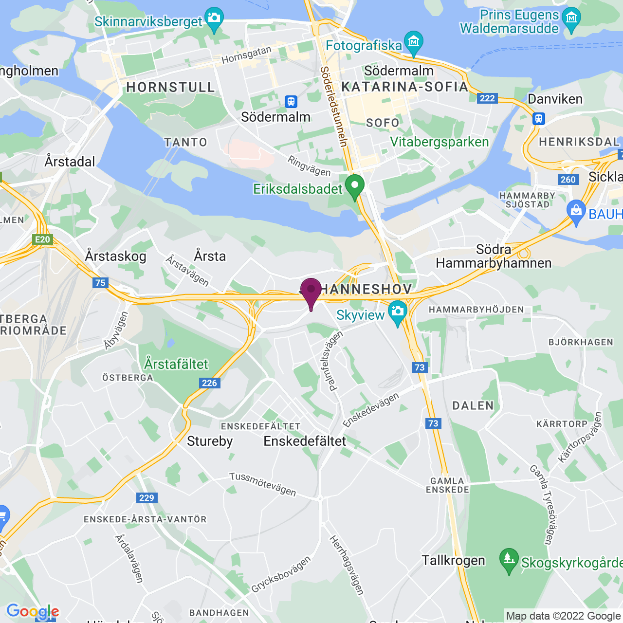 Karta över Lindetorpsvägen