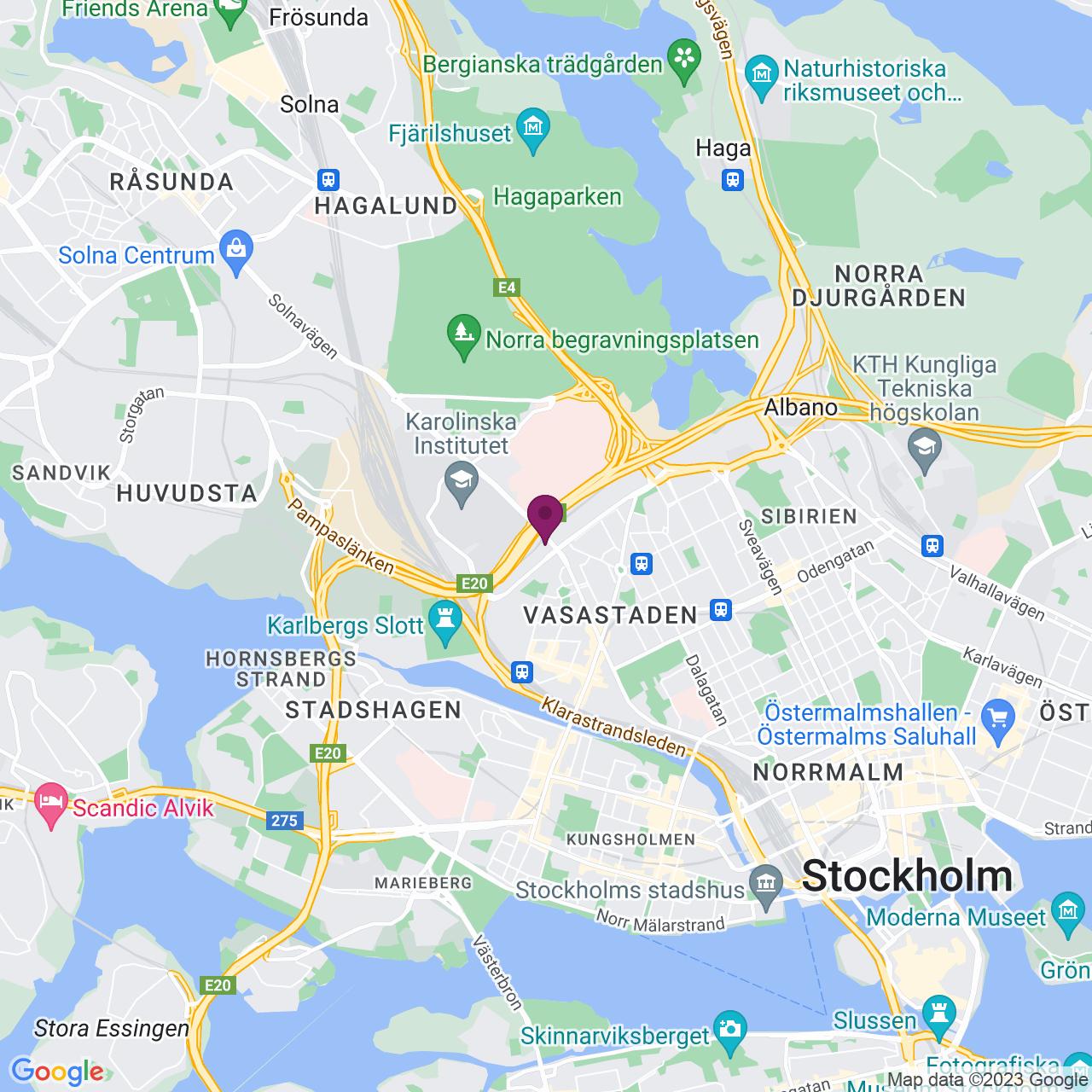 Karta över Solnavägen 1E