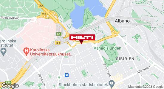Få vägbeskrivning till Hilti-butik Stockholm