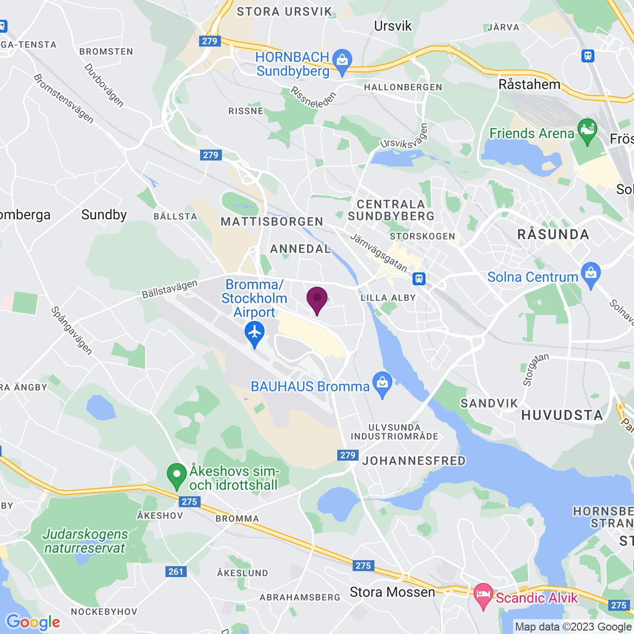 Karta över Gårdsfogdevägen 18 B