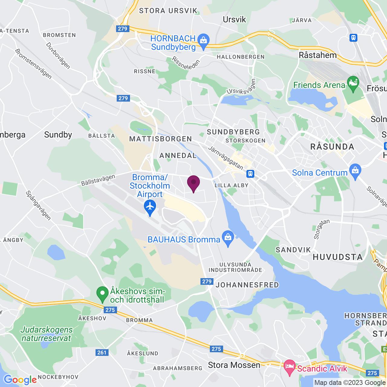 Kort över Adolfsbergsvägen 31