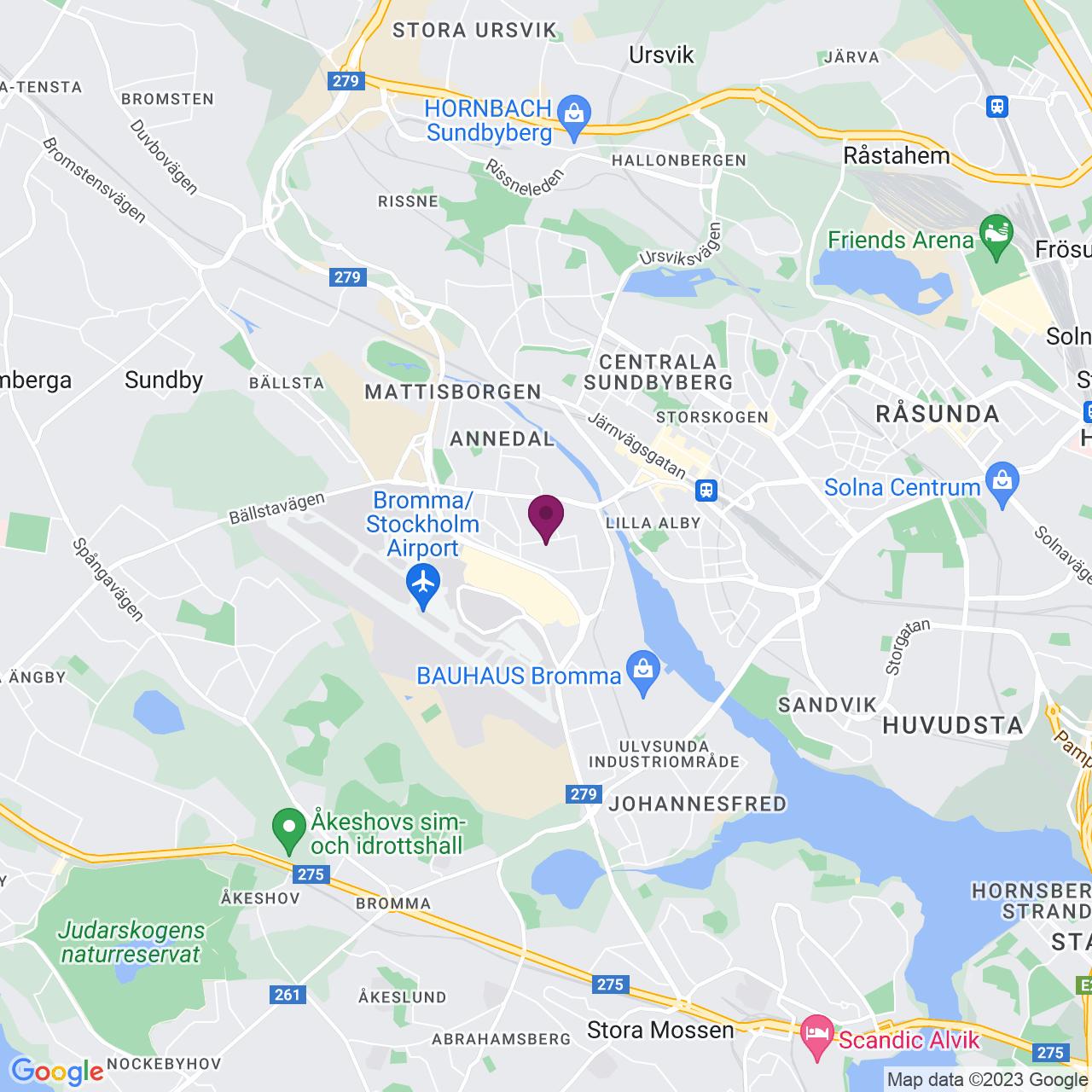 Karta över Adolfsbergsvägen 31