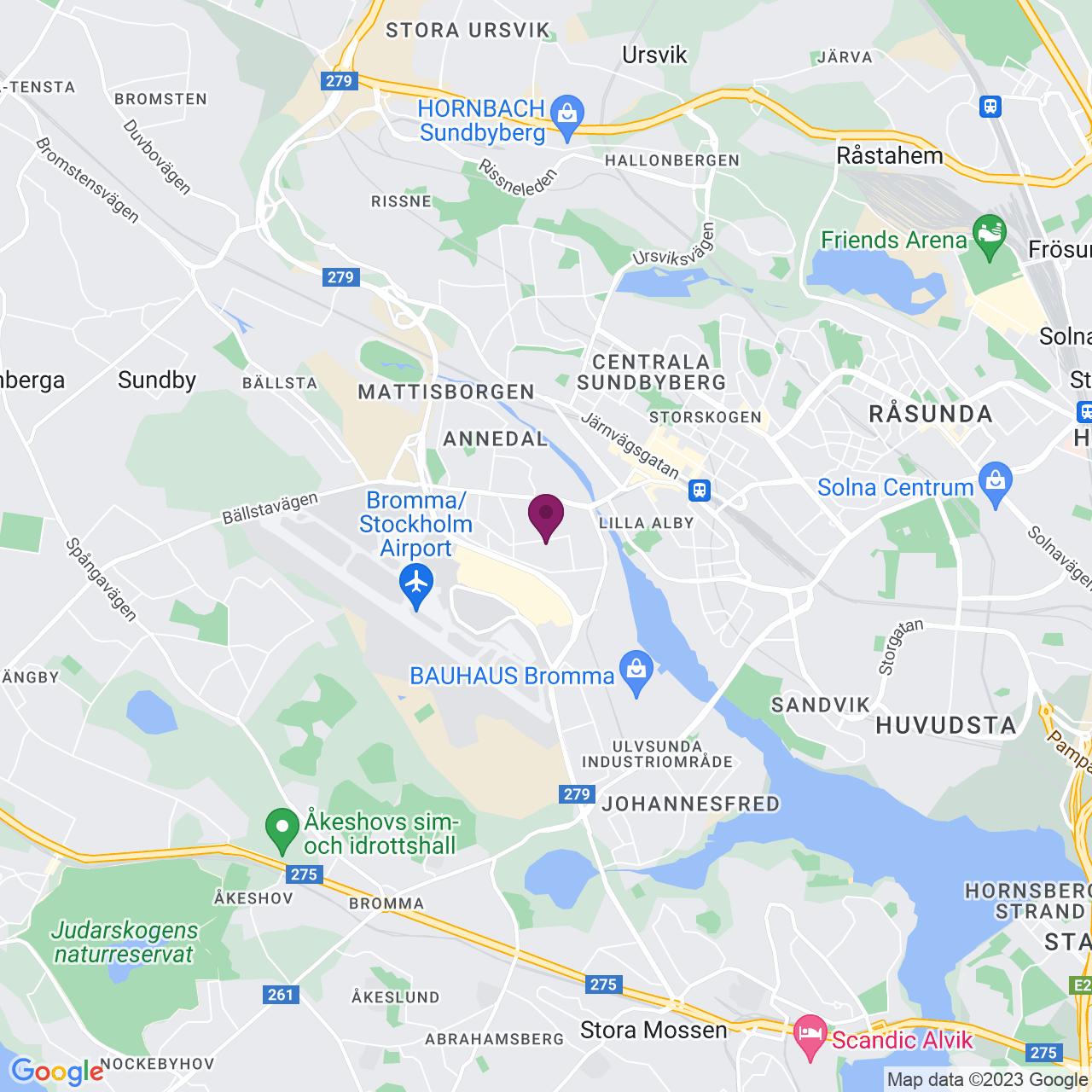 Karta över Adolfsbergsvägen 25