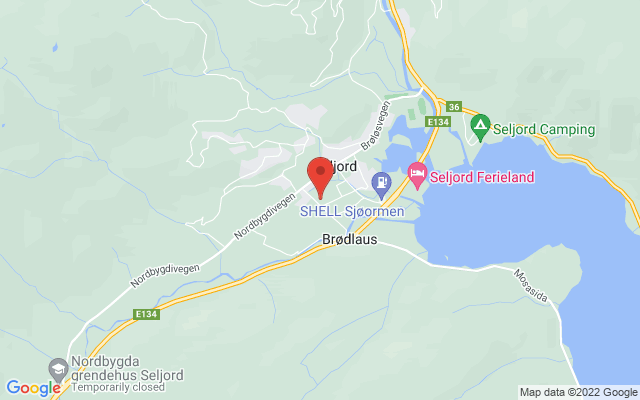 Kart over Seljord bibliotek