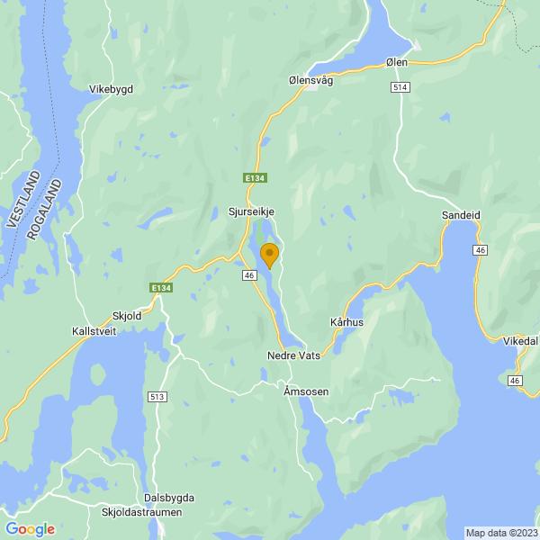 Google Map of 59.52395825182536,5.711222620108871