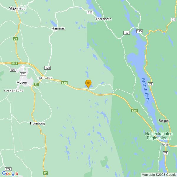 Google Map of 59.54642359683141,11.4811189968201
