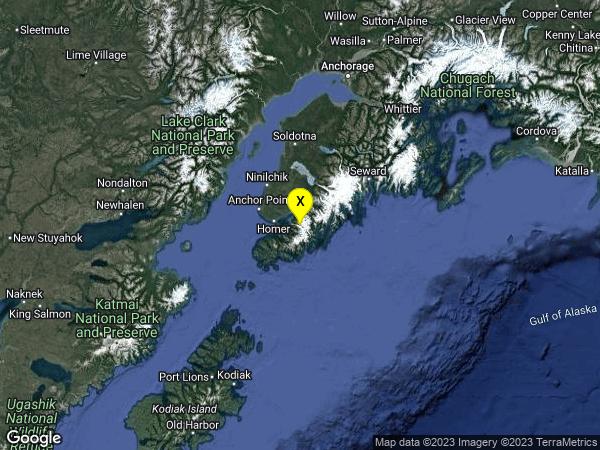 earthquake 23km SE of Fritz Creek, Alaska