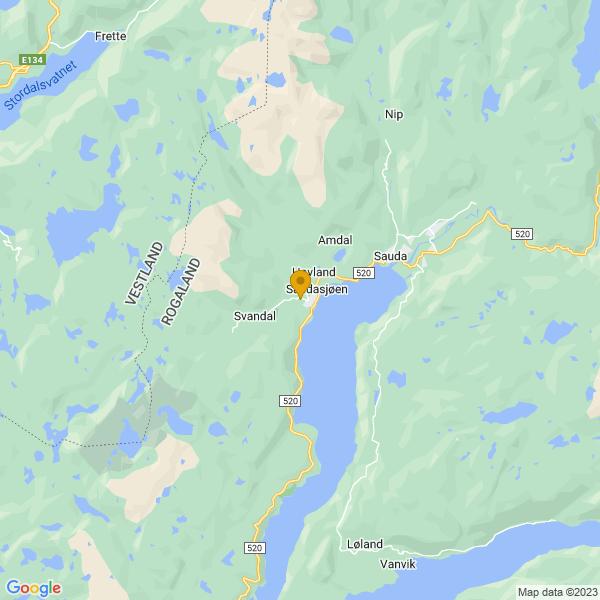 Google Map of 59.63564359999999,6.2919085