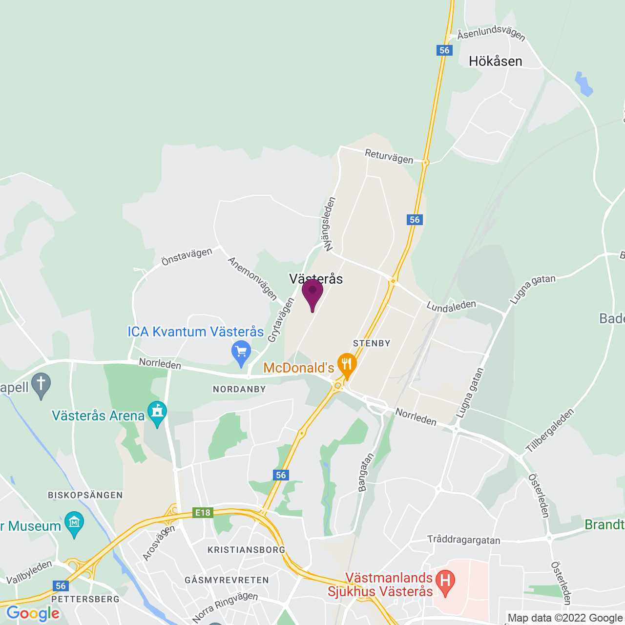 Karta över Tunbytorpsgatan 23
