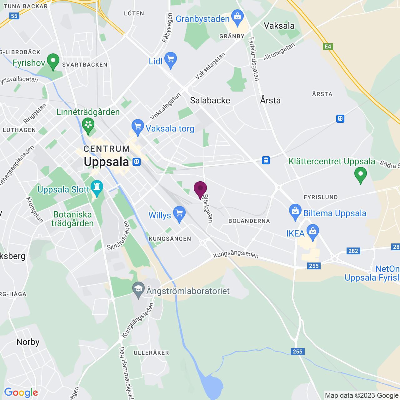 Kort över Björkgatan 67B/Säbygatan 10